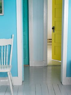 Dress a space with analogous colors, which fall next to each other on the spectrum, rather than opposites. That might mean yellows and greens, reds and oranges, blues and purples. This space artfully marries swaths of turquoise, teal, sky and chartreuse into a cohesive whole.