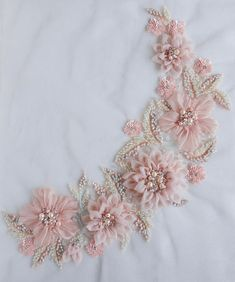 Applique in beautiful blush with hand-crafted silk organza flowers Ribbon Embroidery Tutorial, Hand Embroidery Dress, Bead Embroidery Patterns, Silk Ribbon Embroidery, Rose Embroidery, Japanese Embroidery, Hand Embroidery Designs, Embroidery Kits, Organza Flowers
