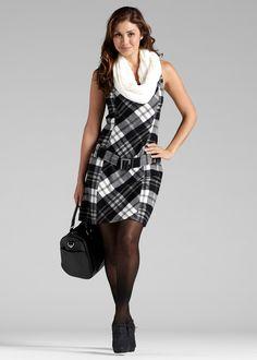 Kleid mit Gürtel im Etui-Stil - schwarz/weiss kariert