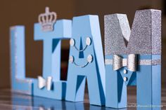 "Baby Blue and Silver Letters, Photo Prop, Centerpiece, 8"" Freestanding Letter, Custom Block Letter, Baby Shower, Royal Prince, 1st Birthday"