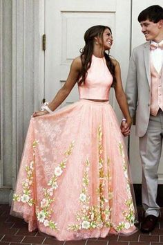 Elegant Two Piece Prom Dress, pink long prom dress with floral, A-line Evening Dress,Floor-length Formal Dress With lace,Prom Dresses Floral Prom Dresses, Pretty Prom Dresses, Prom Dresses Two Piece, Pink Prom Dresses, A Line Prom Dresses, Prom Party Dresses, Trendy Dresses, Dance Dresses, Homecoming Dresses