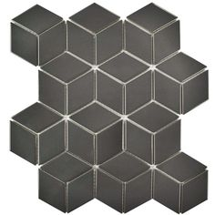 SomerTile 10.5x12.125-inch Victorian Rhombus Glossy Grey Porcelain Mosaic Floor and Wall Tile (10/Case, 9.04 sqft.) | Overstock.com Shopping - The Best Deals on Floor Tiles