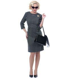 Black & White Madison Avenue Retro Wiggle Dress - Unique Vintage