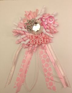 Its a Girl Pretty in Pink  Baby Shower Corsage. Girl baby shower decorations/favors