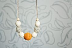 Choose Your Color - Petite Linen Nursing / Babywearing / Breastfeeding Necklace, Wood Jewelry on Etsy, $17.00