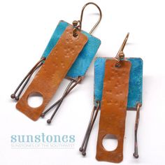 Hammered Rustic Copper Earrings E827 by SunStones on Etsy https://www.etsy.com/listing/287705465/hammered-rustic-copper-earrings-e827