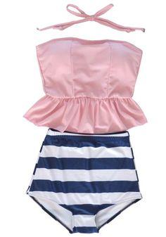 Women's Retro Vintage High Waisted Tankini Skirt Bikini Swimsuit Bath Suit Pink Welity http://www.amazon.com/dp/B00KK9WI56/ref=cm_sw_r_pi_dp_JXgTtb1W2W3M89AK
