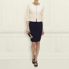 L.K. Bennett's Eleanor Tweed Jacket in Cream-Champagne with Navy Vally Wool Pencil Skirt