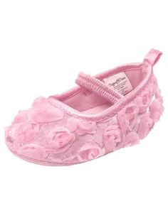Baby Girls Rosette Satin Binded Mary Jane Dress Shoes by Stepping Stones - Pink - 4 Infant / 9 Mths-12 Mths