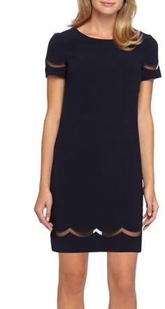 b3718c534c91 Tahari Mesh Inset Crepe Shift Dress Shift Dress Summer, Shift Dress Outfit,  Shift Dresses