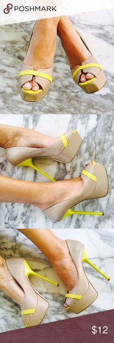 "⛵️ SHOEDAZZLE ⛵️ Beige Neon Pumps Super cute pumps, neutral & neon.     Condition: GUC, couple of scuffs no major issues, only worn a few times Model:  34A  24"" waist  5'7"" 00/XS  7.5 🚫TRADING INSTAGRAM: @EmilyHedicke  Photos by Posher @JadedAndTraded Shoe Dazzle Shoes Heels"