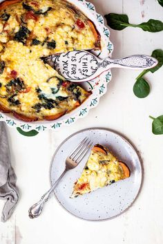 Spinach and goat cheese quiche made with a sweet potato crust that helps to hold the quiche nicely together without all the calories of a regular crust.