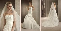 The Tina Bridal Gown, from the White One Collection by Pronovious. A strapless tulle polka dot gown with applications and a ribbon detail at the bust. Bridal Gowns, Wedding Dresses, Satin Bows, Dress Ideas, Tulle, Mood, My Style, Collection, Fashion