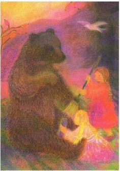 Postkarte Märchen : Schneeweißchen und Rosenrot mit Bär | eBay