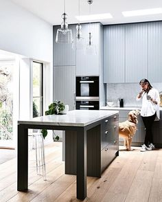 grey kitchen with tongue and groove detail