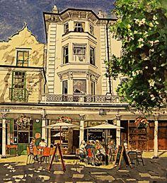 Alfresco on The Pantiles by Ian Kesterton Tunbridge Wells Tunbridge Wells, Old Paintings, Wellness, Mansions, House Styles, Sketches, Urban, Image, Art