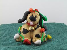Puppy tangled up in lights Ornament by ClayHoliday on Etsy, $14.00