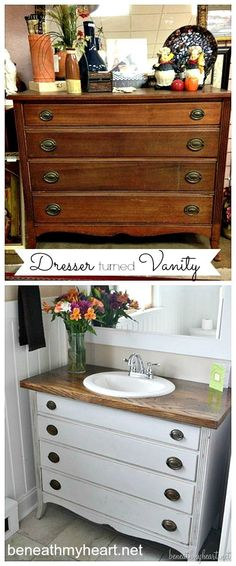 Turning an antique dresser into a bathroom vanity!