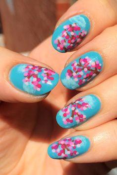 ehmkay nails: Cherry Blossoms Nail Art with Zoya Nail Polish