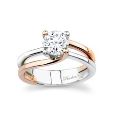 Two tone white & rose gold solitaire engagement ring