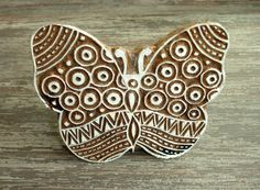 Large Butterfly Stamp: Hand Carved Wood Stamp, Clay Stamp, Indian Printing Block, Wooden Textile Stamp, Ceramics Pottery Stamp, from India, by DelhiDaze, $16.00