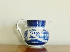 Vintage Mottahedeh Blue Canton Small Serving Pitcher Vista Alegre Blue White Chinoiserie Asian Decor on Etsy, $45.00