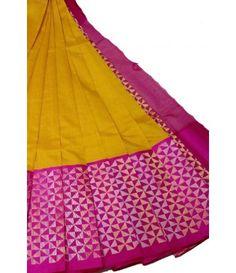 Yellow Handloom Pure Kollam Silk Kuppadam Saree