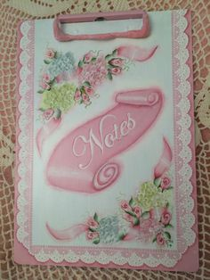 Hand Painted Clip Board Metal Cottage Chic Pink Roses Hydrangeas Shabby Lace HP