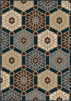 Contemporary hexagons and traditional scrollwork medallions combine to create the Orian Rugs Hexagons Pandu Indoor/Outdoor Area Rug. This rug boasts a rich beige and navy color scheme for a cozy feeling. Pattern Drawing, Pattern Art, Pattern Design, Textile Prints, Textiles, Paisley Art, Islamic Art Pattern, 3d Texture, Texture Painting