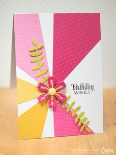 birthday card using Sizzix die cuts, intricate flowers and bunting dies. Paula Pascual For Sizzix