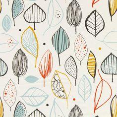 Leaves Glada 1 - white - Decorator Fabrics Plants - myfabrics.co.uk
