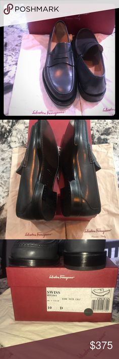 Men's Salvatore Ferragamo loafers. Unworn. Never worn. Do not fit and both pairs were a gift. Brand new absolutely untouched. Men's Salvatore Ferragamo men's loafer, black. Style is called Swiss, color is Dark Rain Calf. Dust bag and box included. Salvatore Ferragamo Shoes Loafers & Slip-Ons