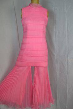 1960's Palazzo Pants Dress Vintage Pink Dress by Gottalovevintage1