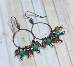 Rustic copper hoop earrings boho earrings everyday earrings