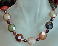 Multicolor Agate Necklace  Sterling Silver Finish 20lg by camexinc, $25.00