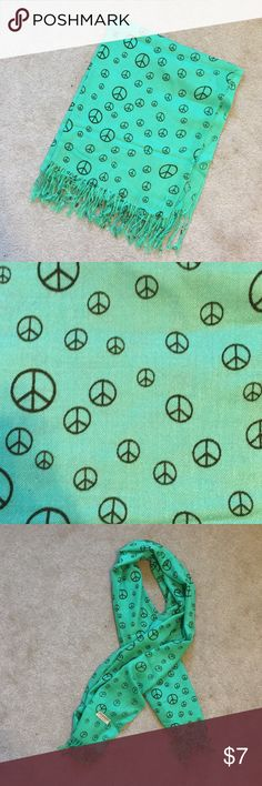 Pashmina Scarf Green with Black Peace Signs Green pashmina scarf with black peace signs.  Never worn. Pashmina Accessories Scarves & Wraps