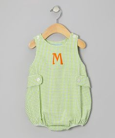 Take a look at this Lime Gingham Seersucker Initial Bubble Bodysuit - Infant by Monday's Child on #zulily today!