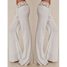 Stylish Mid-Waisted Waist Drawstring Laciness Spliced Women's Pants