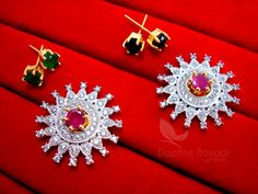 Daphne Rich SixInOne Changeable Zircon Earrings for Women, Anniversary Gift – Buy Indian Fashion Jewellery Women's Earrings, Diamond Earrings, Fashion Jewellery, Indian Fashion, Anniversary Gifts, Convertible, Brooch, Pink, Stuff To Buy