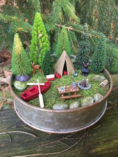 Miniature Camping Scene With Canoe Tent Deer And Bear -Enjoy the Outdoors-Miniature Camping -Miniature Tent-Cake Toppers-Wedding Cake Topper Fairy Garden Pots, Indoor Fairy Gardens, Fairy Garden Houses, Gnome Garden, Miniature Fairy Gardens, Miniature Fairies, Garden Park, Suculentas Diy, Garden Crafts