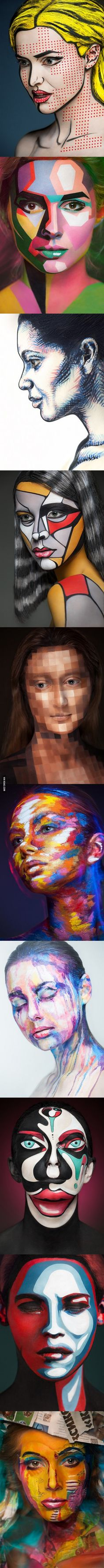Incredible photographs of people wearing face paint. Some are great examples for planes when painting