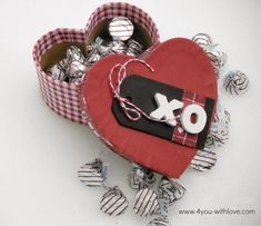 "@Marilyn Clark (4 You With Love)  ""XO"" Decoupaged Gift Box is #FabulouslyFestive"