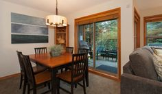 Whistler Rental Arrowhead Point #5 Dining Area Comfortably Seats 6, Access to Deck  @whistlrplatinum #vacation #rental #whistler #travel