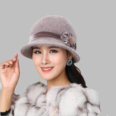 003956f74369d Autumn Winter Fedora Rabbit Fur Hat for Women Fashion Casual Cap Solid  Colors Gorros Cap Women s