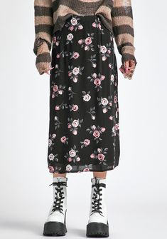 Delia's Grunge Floral Midi Skirt - Black | Dolls Kill Oversized Flannel, Crazy Outfits, Black Midi Skirt, Babydoll Dress, Cropped Sweater, 90s Fashion, Wide Leg Pants, Online Boutiques, Mini Skirts