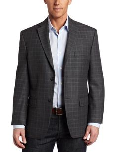 Haggar Men's 2 Button Textured Herringbone Center Vent Sport Coat