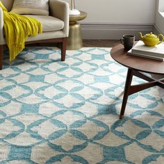 Tile Wool Kilim - Aquamarine | west elm blue cream rug floor wood floor couch green blanket