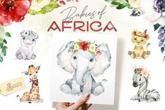 Ad: Babies of Africa. Watercolor Set by OctopusArtis on Look at these cute babies from Africa! We advise you to keep your eye on these cute lovely animals. This Watercolor Collection includes Nursery Prints, Nursery Art, Baby Animals, Cute Animals, Giraffe, Elephant, Commercial Fonts, Watercolor Animals, Watercolor Flowers