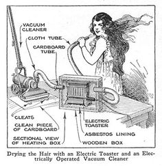 Vacuum Cleaner/ Electric Toaster Hairdryer: An issue of Popular Mechanics Handbook for Women from 1924 instructs you on how to make a hair dryer from a vacuum cleans and an electric toaster. by marymilley.wordpr... tinyurl.com/7e5njk4  #Hairdryer_History #1920s #marymilley #Vacuum_Cleaner_Hairdryer