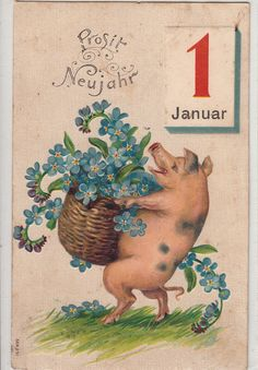 NEW Year 1st January Luck PIG Carry Blue Flowers Bascket Cochon Fleurs Fantaisie | eBay